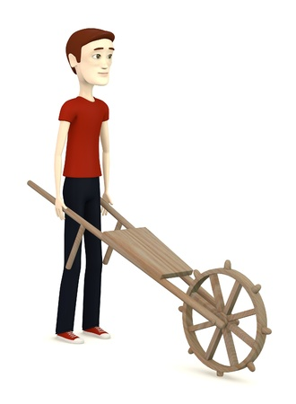 3d render of cartoon character with wheel barrow photo