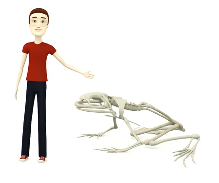 3d render of cartoon character with frog skeleton photo