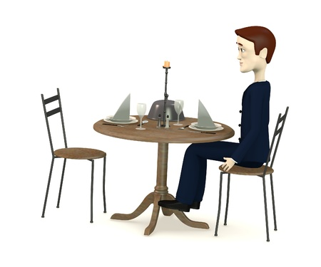 3d render of cartoon characters sits on restaurant photo