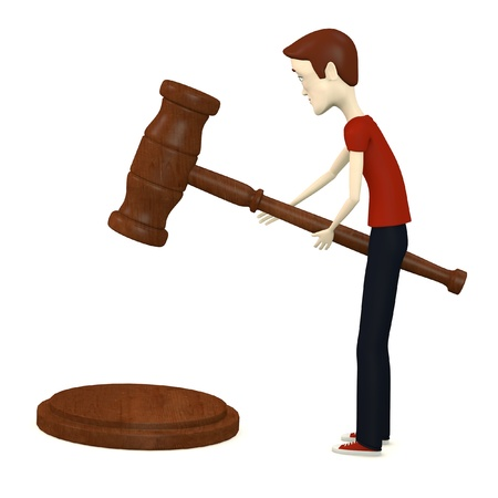 3d render of cartoon character with gavel photo