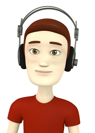 speakers desk: 3d render of cartoon character with headphones Stock Photo