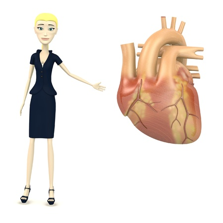 3d render of cartoon character with human heart photo