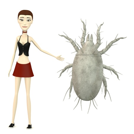 mite: 3d render of cartoon character with mite