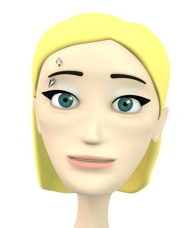 piercing: 3d render of cartoon character with piercing Stock Photo