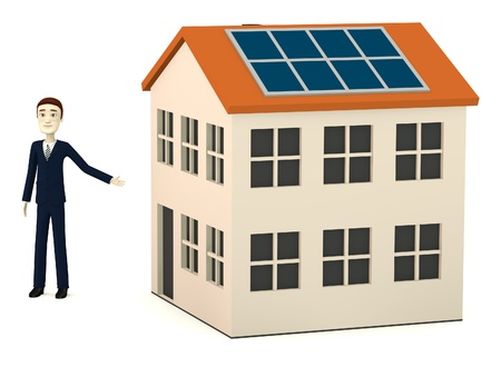 figourine: 3d render of cartoon character with solar house