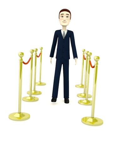 3d render of cartoon character with barriers Stock Photo