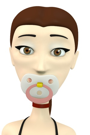 3d render of cartoon character with baby teat photo