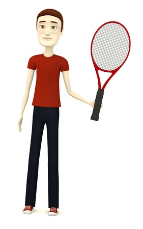3d render of cartoon character with tennis racket photo