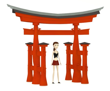 torii: 3d render of cartoon character with torii gate
