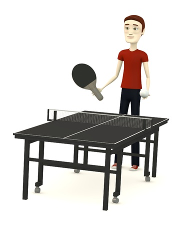 tenis: 3d render of cartoon character with table tennis