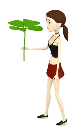 quarterfoil: 3d render of cartoon character with 4-clover
