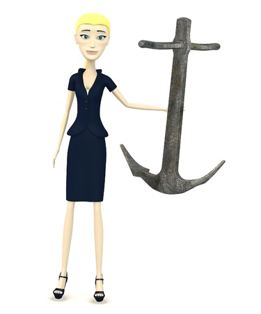 3d render of cartoon character with anchor Stock Photo - 19365484