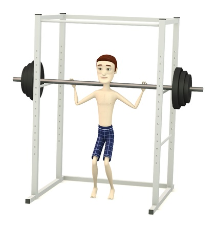 excercise: 3d render of cartoon character with barbell in cage
