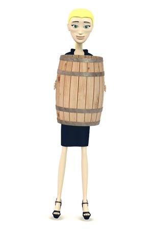 3d immagine di personaggio dei cartoni animati con il barilotto di legno Archivio Fotografico - 19365451
