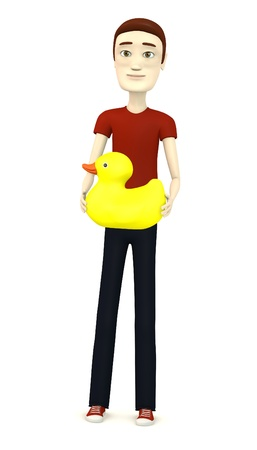 3d render of cartoon character with bath toy photo