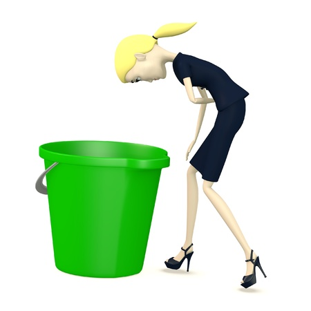 3d render of cartoon character with bucket Stock Photo - 19365276