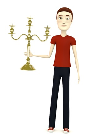 candlestick: 3d render of cartoon character with candlestick Stock Photo