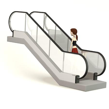 3d render of cartoon character on escalator