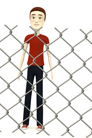 3d render of cartoon character behind fence Stock Photo - 19365695