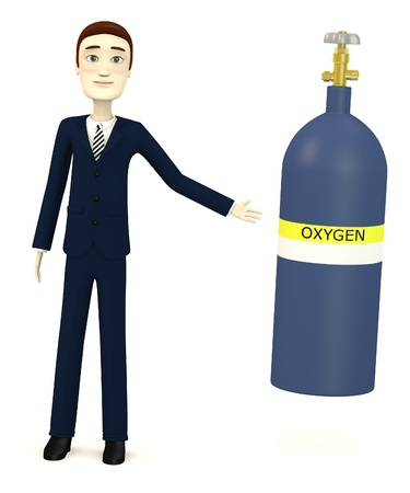 oxygene: 3d render of cartoon character with gas can