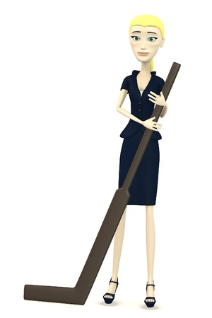 3d render of cartoon character with hockeystick photo