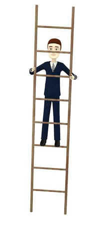 3d render of cartoon character on a ladder photo
