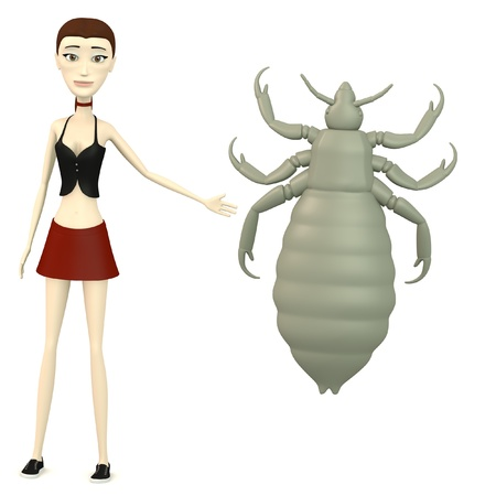 louse: 3d render of cartoon character with louse