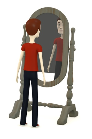3d render of cartoon character with mirror photo