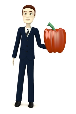 paprika: 3d render of cartoon character with paprika