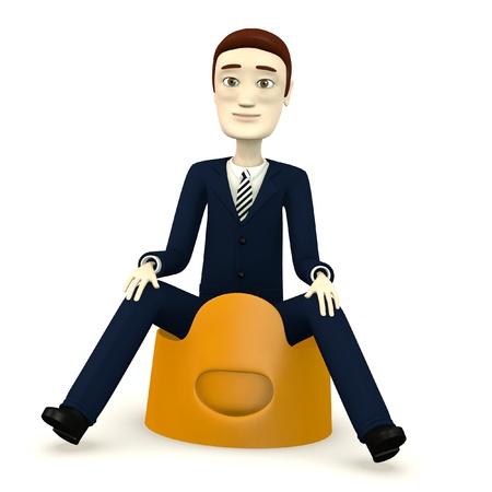 chamber pot: 3d render of cartoon character on pot