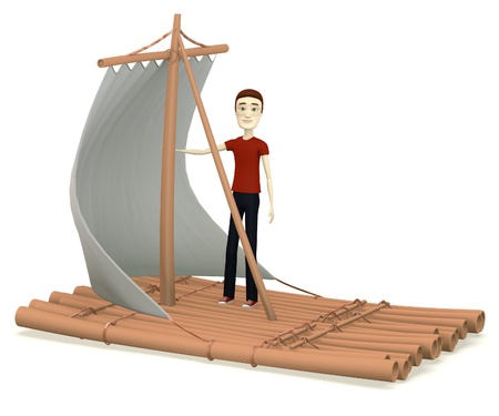 3d render of cartoon characer on raft