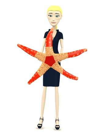 seastar: 3d render of cartoon character with seastar
