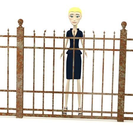 3d render of cartoon character with fence Stock Photo - 19365698