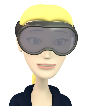 3d render of cartoon character on ski photo