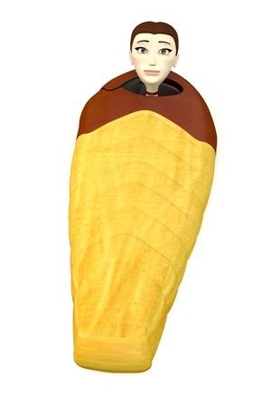 sleeping bag: 3d render of cartoon character in sleeping bag Stock Photo
