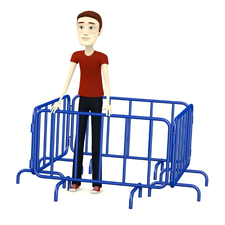 3d render of cartoon character with barriers Stock Photo - 19365674