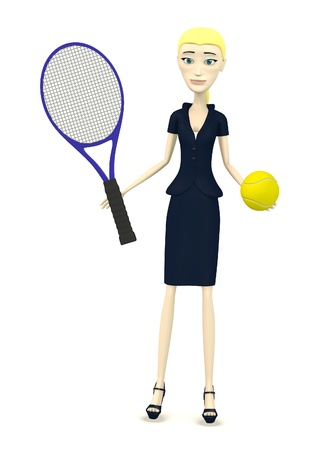 3d render of cartoon character with tennis ball and racket photo