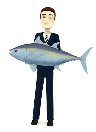 3d image of cartoon character with tuna fish photo