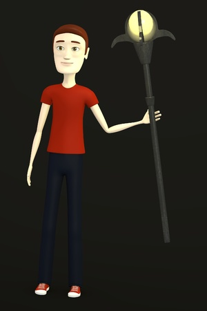 poke': 3d render of cartoon character with staff