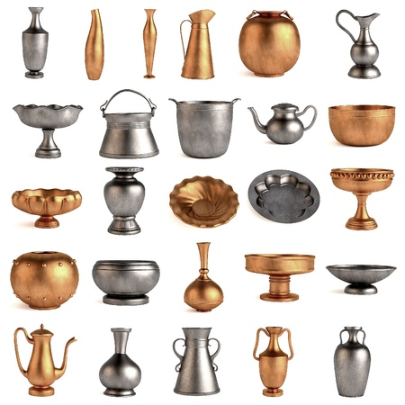 antique dishes: 3d render of antique dishes Stock Photo