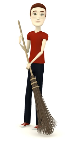 besom: 3d render of cartoon character with besom Stock Photo