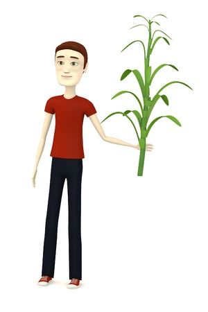 3d render of cartoon character with corn stalk photo