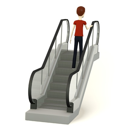escalator: 3d render of cartoon character on escalator