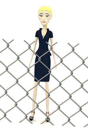 3d render of cartoon character behind fence Stock Photo - 19554214