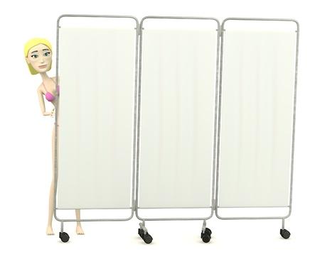 folding screens: 3d render of cartoon character with folding screen