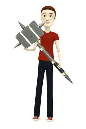 warhammer: 3d render of cartoon character with hammer Stock Photo