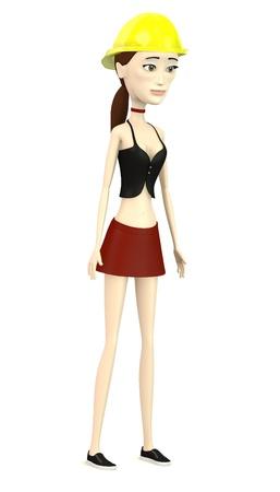 hard cap: 3d render of cartoon character with hard cap Stock Photo