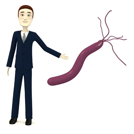 helicobacter: 3d render of cartoon character with helicobacter pylori