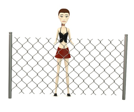 3d render of cartoon character with chain fence Stock Photo - 19591464