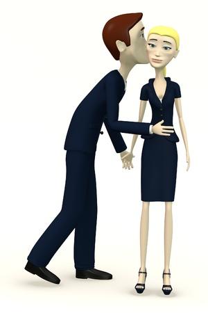 cheeks: 3d render of cartoon characters kissing Stock Photo